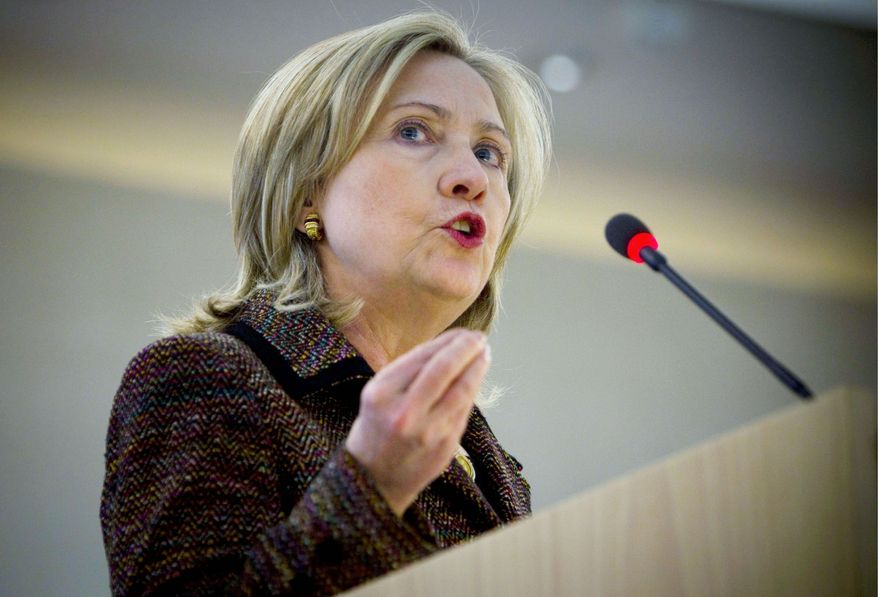 Secretary of State Hillary Rodham Clinton speaks to the Human Rights Council in Geneva on Monday. The 27-nation bloc agreed on sanctions against Libya. (Associated Press)