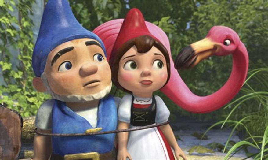 """FILE - In this film publicity image released by Touchstone Pictures, Gnomeo, voiced by James McAvoy, left, and Juliet, voiced by Emily Blunt, center, and Featherstone, voiced by Jim Cummings, are shown in a scene from """"Gnomeo and Juliet."""" Walt Disney's """"Gnomeo & Juliet,"""" an animated 3-D twist on """"Romeo and Juliet,"""" took in $14.2 million in its third week of release, leading the box office on Oscar weekend, according to studio estimates Sunday, Feb. 27, 2011. (AP Photo/Touchstone Pictures)"""