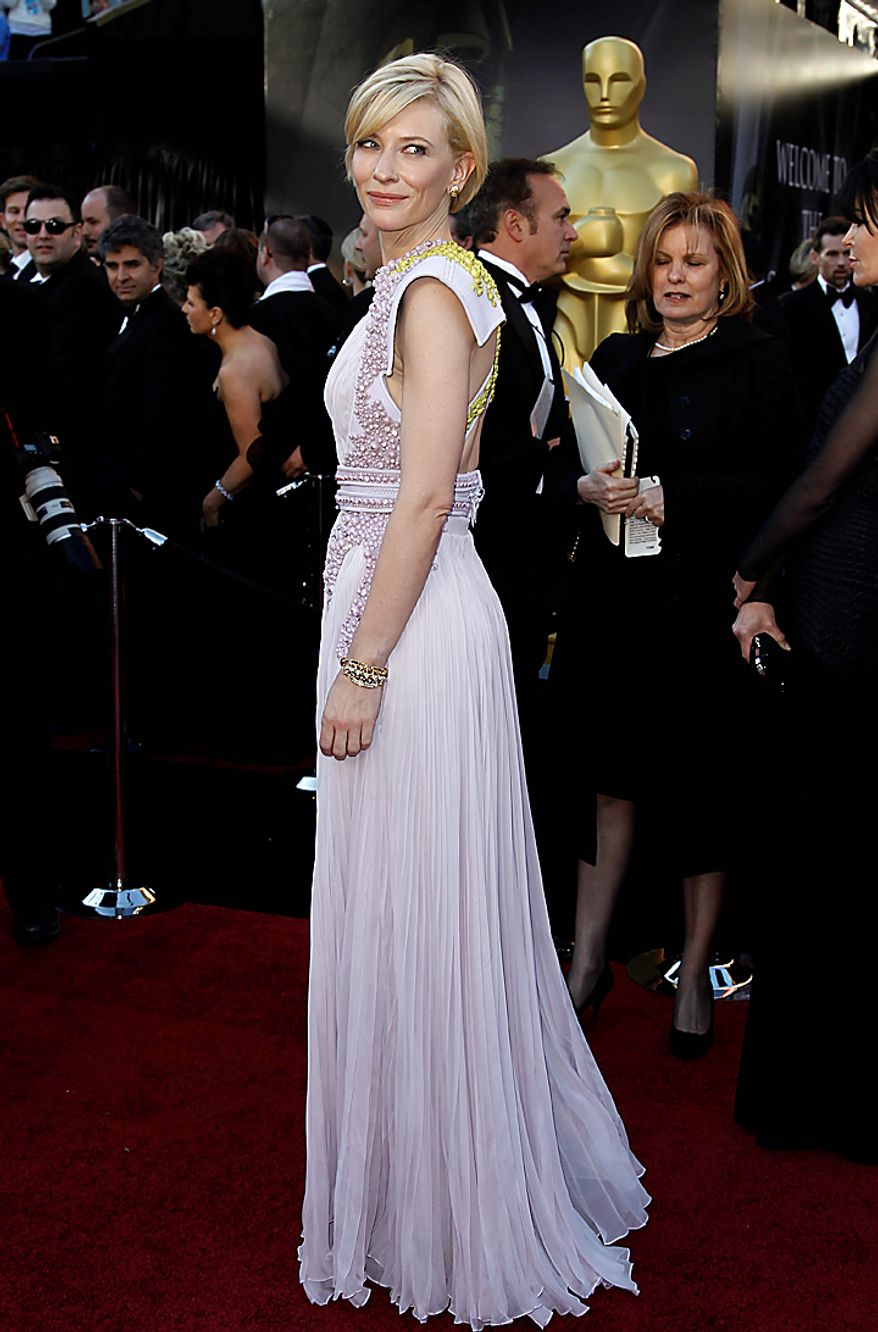 Actress Cate Blanchett arrives before the 83rd Academy Awards on Sunday, Feb. 27, 2011, in the Hollywood section of Los Angeles. (AP Photo/Matt Sayles)