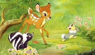"Bambi; Thumper, a young rabbit; and Flower, a skunk, frolic in the woods in the classic Walt Disney animated film ""Bambi."""