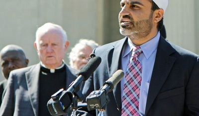 Businessman Nadeem Siddiqi speaks at a press conference in Nashville, Tenn., on Tuesday in opposition to a state legislative proposal that would make it a felony to follow some versions of the Islamic code known as Shariah. (Associated Press)