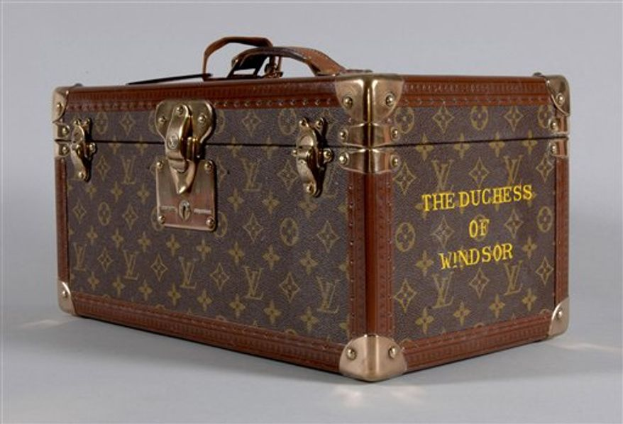 In this handout  photo released by Kerry Taylor Auctions is a Louis Vuitton vanity case, circa 1960's,  which forms part of a collection of personal items belonging to the late Duchess of Windsor.  Lingerie, handbags and luggage once owned by Wallis Simpson, the American divorcee who shook the British monarchy, are due to be auctioned off in London March 17.  (AP Photo /  Kerry Taylor Auctions, HO) EDITORIAL USE ONLY NO SALES
