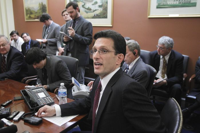 House Majority Leader Eric Cantor of Virginia speaks to reporters on Capitol Hill in Washington, Monday, Feb. 28, 2011, as Congress resumes work on a spending plan to avoid a government shutdown. (AP Photo/J. Scott Applewhite)