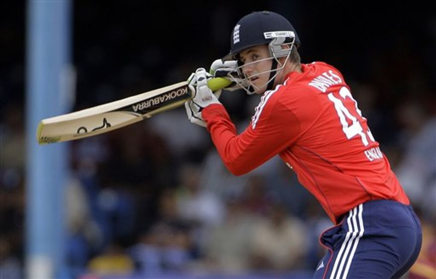 FILE - In this March 15, 2009 file photo, England's Steve Davies plays a shot during the Twenty20 International cricket match against West Indies at Queen's Park Oval in Port of Spain, Trinidad. England wicketkeeper Steve Davies has become the country's first professional cricket player to publicly announce he is gay. The 24-year-old Surrey player made the announcement late Sunday, Feb. 28, 2011 in video interviews on the websites of The Sun and Daily Telegraph newspapers. (AP Photo/Andres Leighton, File)