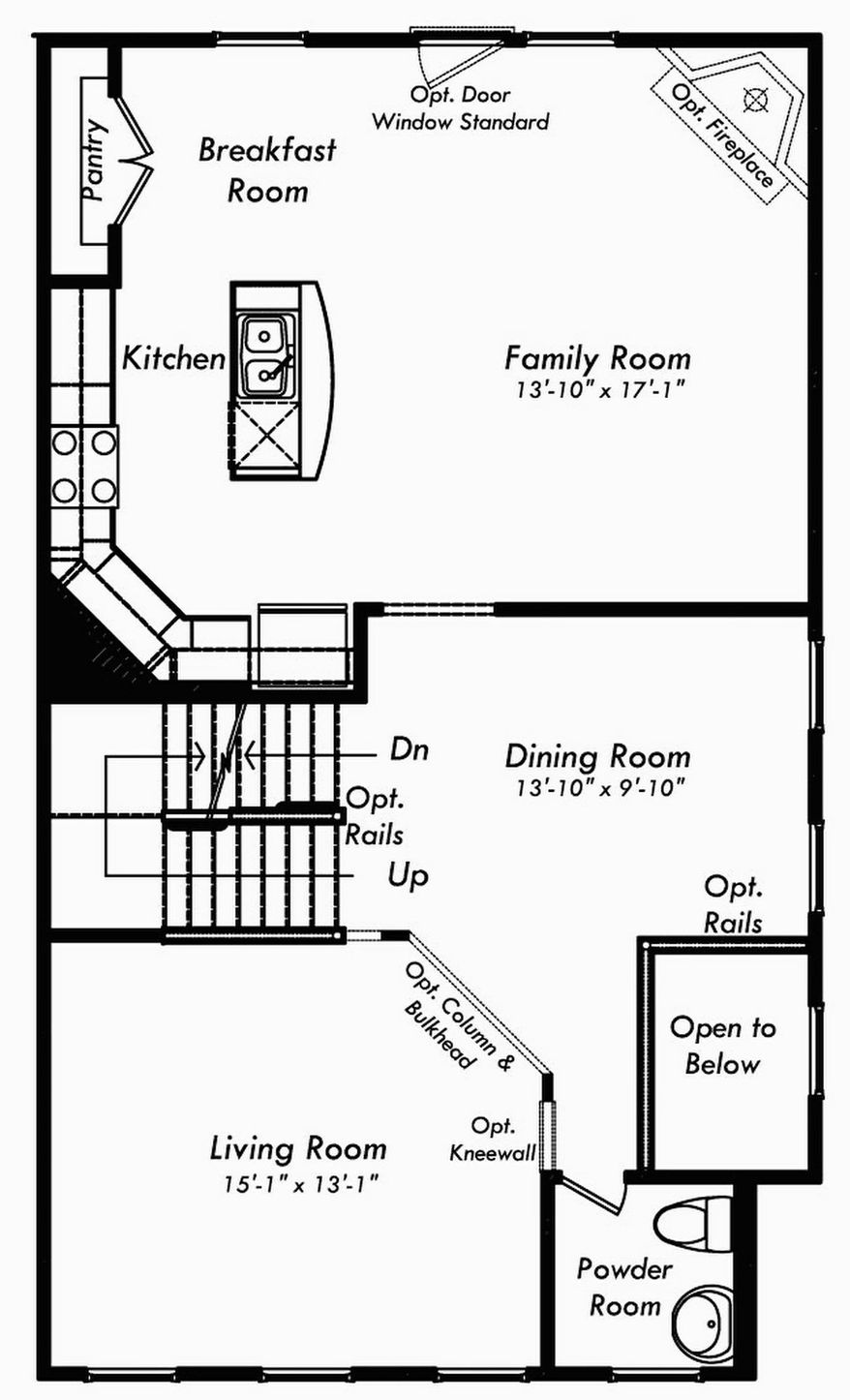 The Astoria model features a center-island kitchen open to the family room on the main level with three bedrooms and two full baths upstairs.