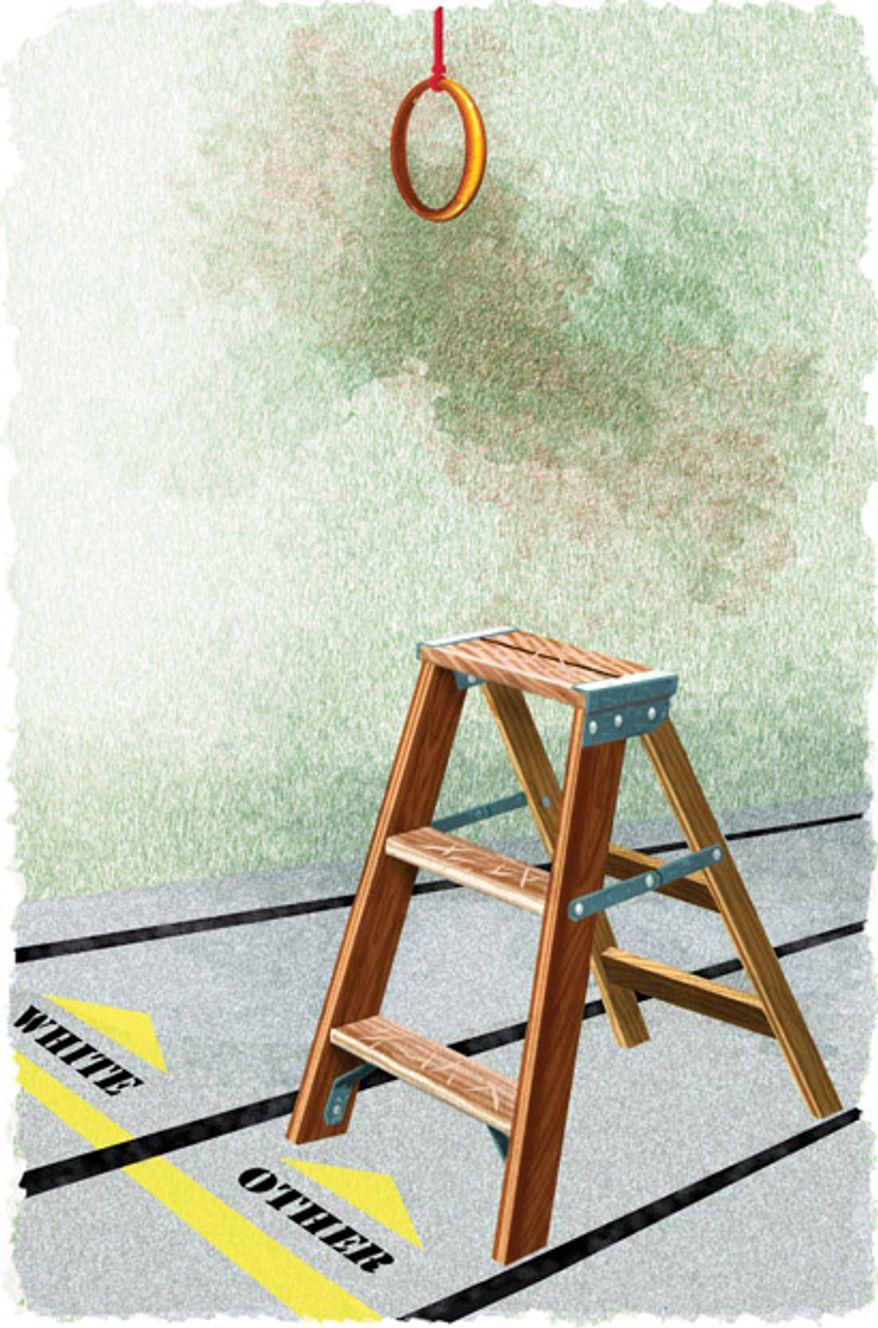 Illustration: Affirmative ladder by Alexander Hunter for The Washington Times