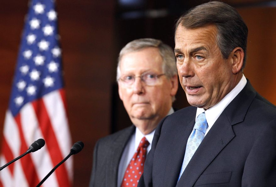 House Speaker John A. Boehner (right), Ohio Republican, and Senate Minority Leader Mitch McConnell, Kentucky Republican (Associated Press) ** FILE **