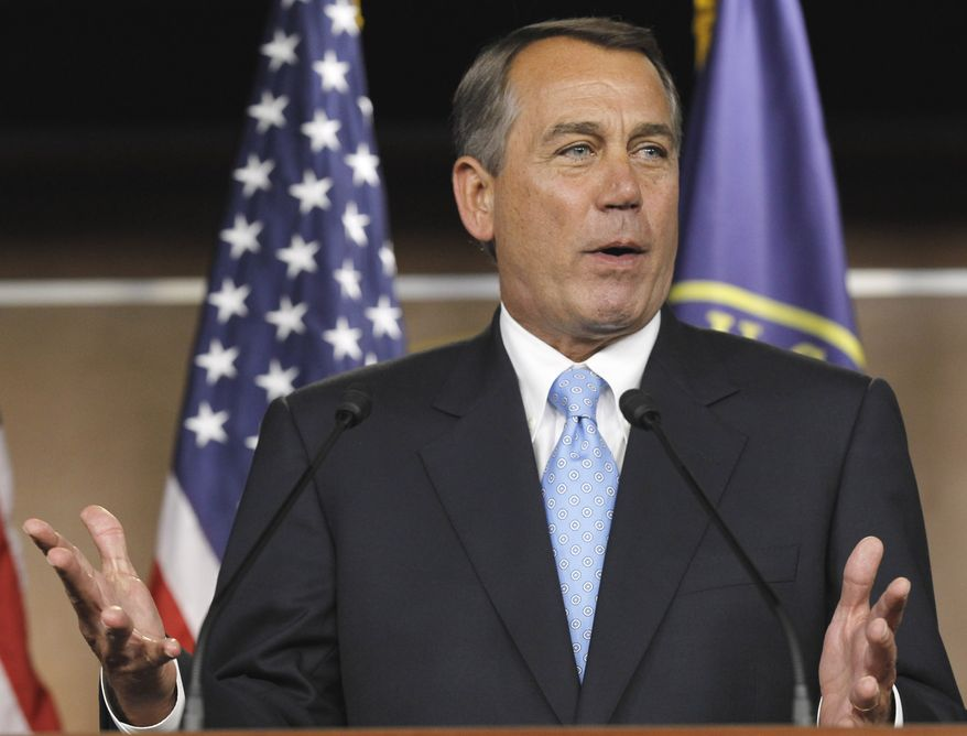 House Speaker John A. Boehner, Ohio Republican, gestures during a news conference on Capitol Hill in Washington on Wednesday, March 2, 2011. (AP Photo/Alex Brandon)