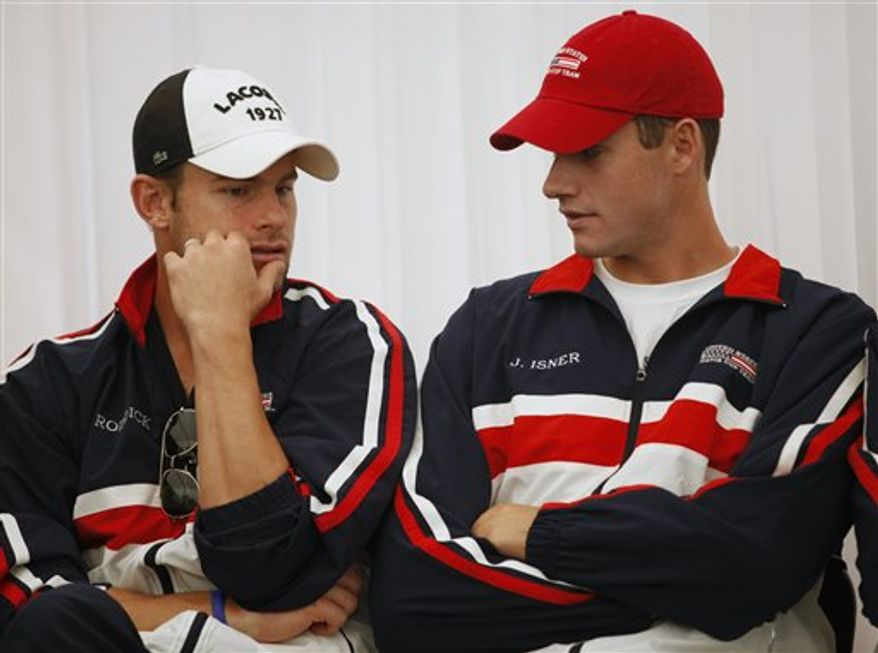 U.S. tennis player Andy Roddick attends a press conference after the draw for the upcoming Davis Cup tennis tournament between Chile and U.S. in Santiago, Chile, Thursday March 3, 2011. (AP Photo/Roberto Candia)