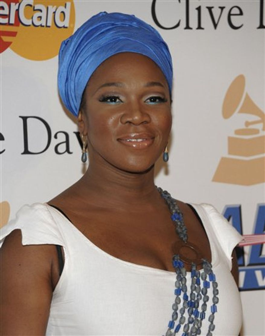 FILE - In this Feb. 12, 2011 file photo, India Arie arrives at the Pre-Grammy Gala & Salute to Industry Icons with Clive Davis honoring David Geffen in Beverly Hills, Calif. (AP Photo/Dan Steinberg, file)