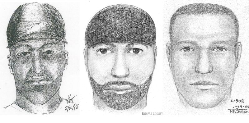 ** FILE ** This composite of artists' sketches provided by the Fairfax, Va., County Police Department shows the likeness of a suspect wanted for 12 sexual assaults or attempted sexual assaults between 1997 and 2009 in Maryland, Virginia, Connecticut and Rhode Island. The sketches were made (from left) in 1998, 1999 and 2000. (AP Photo/Fairfax County Police, File)