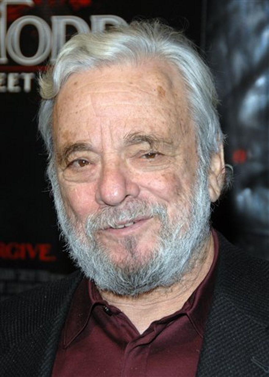 "FILE - In this Dec. 3, 2007 file photo, composer Stephen Sondheim arrives at the premiere of ""Sweeney Todd: The Demon Barber of Fleet Street"" at the Ziegfeld Theatre in New York. Broadway master Stephen Sondheim is to receive a special prize at Britain's Laurence Olivier Theater Awards. Organizers said Friday, March 4, 2011,  that the 80-year-old composer and lyricist would accept the award in person during the March 13 ceremony at London's Theatre Royal Drury Lane. (AP Photo/Peter Kramer, file)"
