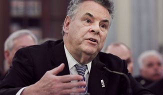 ** FILE ** Rep. Peter T. King, New York Republican, who is House Homeland Security Committee chairman, testifies on Capitol Hill in Washington on Wednesday, Feb. 16, 2011. (AP Photo/Manuel Balce Ceneta, File)