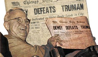 Illustration: Truman defeated by Greg Groesch for The Washington Times