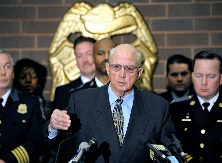 """Prince William County, Va., Commonwealth's Attorney Paul B. Ebert speaks at a news conference Monday about the arrest of Aaron Thomas, charged as the long-sought """"East Coast rapist."""" (Associated Press)"""
