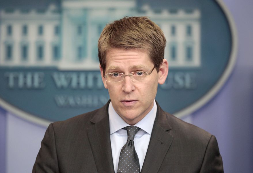 White House press secretary Jay Carney gives the daily news briefing at the White House in Washington on Tuesday, March 1, 2011. (AP Photo/Pablo Martinez Monsivais)