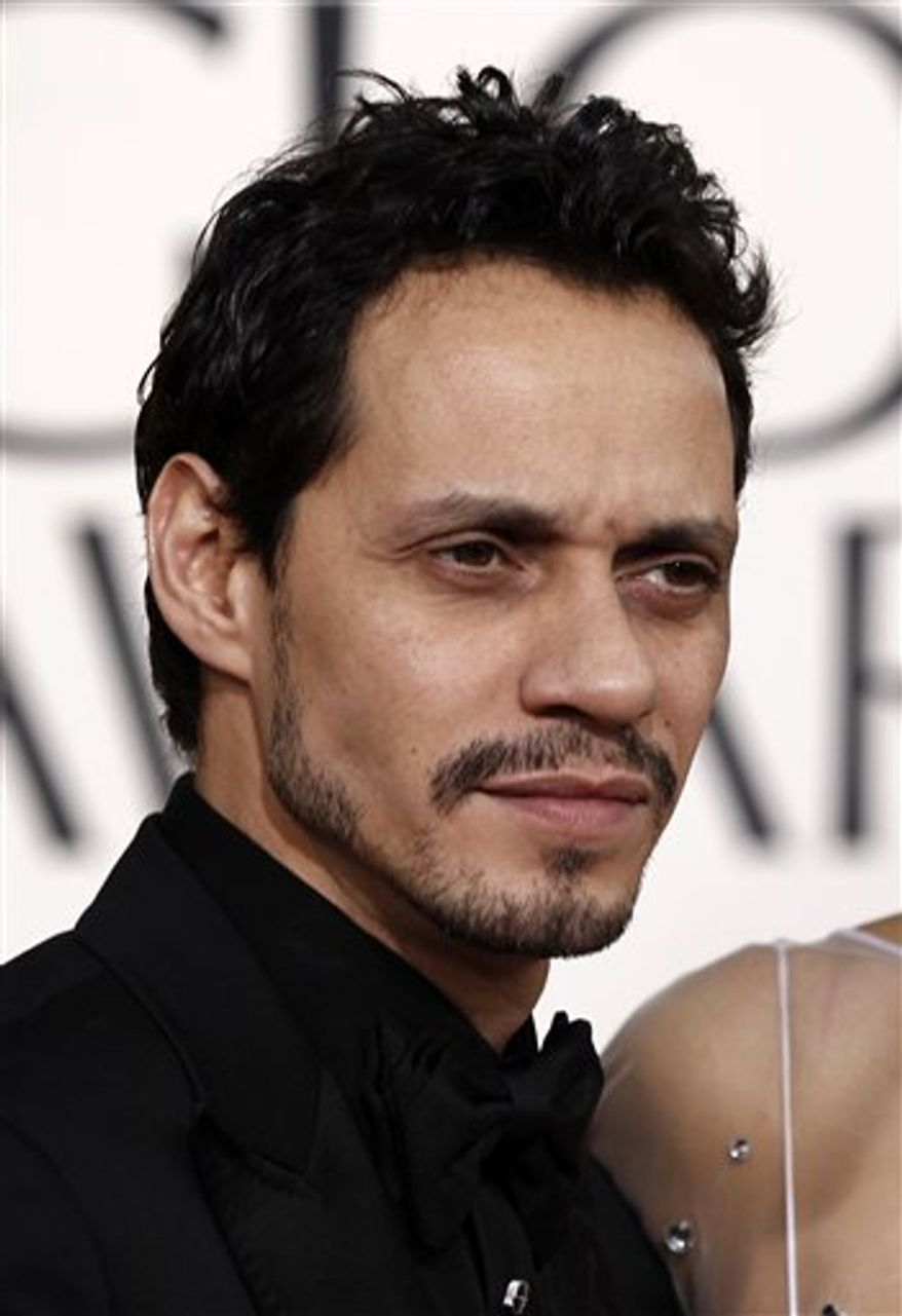 FILE - In this Jan. 16, 2011 file photo, singer Marc Anthony arrives for the Golden Globe Awards in Beverly Hills, Calif. (AP Photo/Matt Sayles, file)