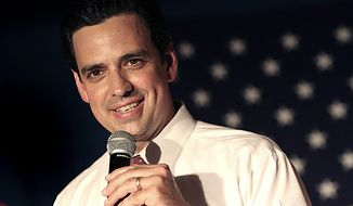 **FILE** Republican congressional candidate Tom Graves declares victory in a special election during a celebration at his campaign headquarters in Cumming, Ga., on Aug. 10, 2010. (Associated Press)