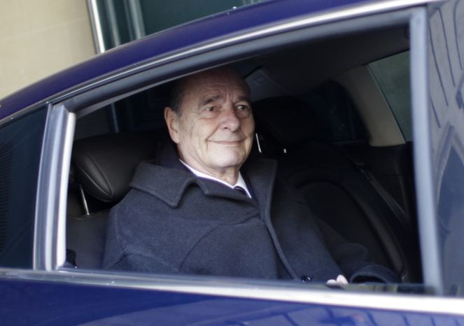 Former French President Jacques Chirac, 78, leaves his office in Paris on Monday, March 7, 2011. Mr. Chirac's long-awaited trial on corruption charges stemming from his tenure as mayor of Paris was postponed on Tuesday until at least June. (AP Photo/Thibault Camus)