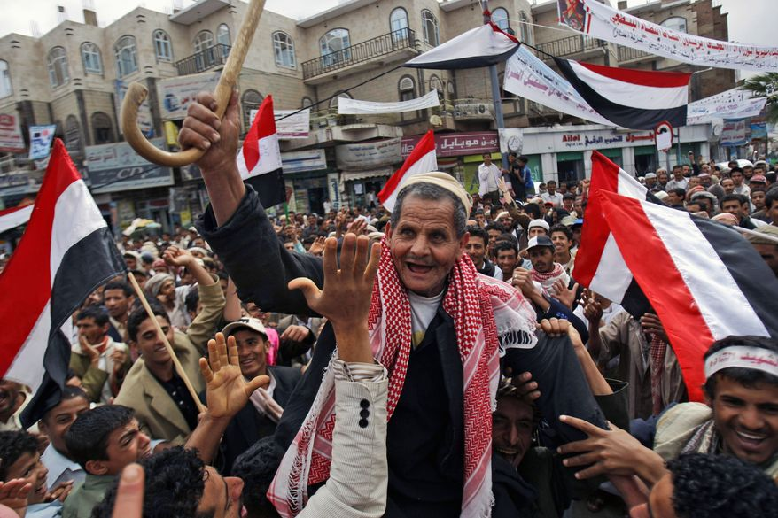 Anti-government protesters chant slogans during a demonstration demanding the resignation of Yemeni President Ali Abdullah Saleh, in Sanaa, Yemen, Monday, March 7, 2011. (AP Photo/Hani Mohammed)