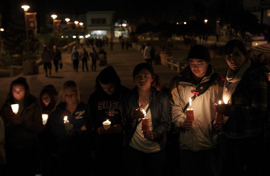 San Diego State University students hold a candlelight vigil for missing student Austin Bice on Monday, March 7, 2011, in San Diego. Police officials in Madrid said on Tuesday that Mr. Bice's body had been found in the Manzanares River, a shallow, slow-moving waterway that runs through western part of the city. (AP Photo/Gregory Bull)