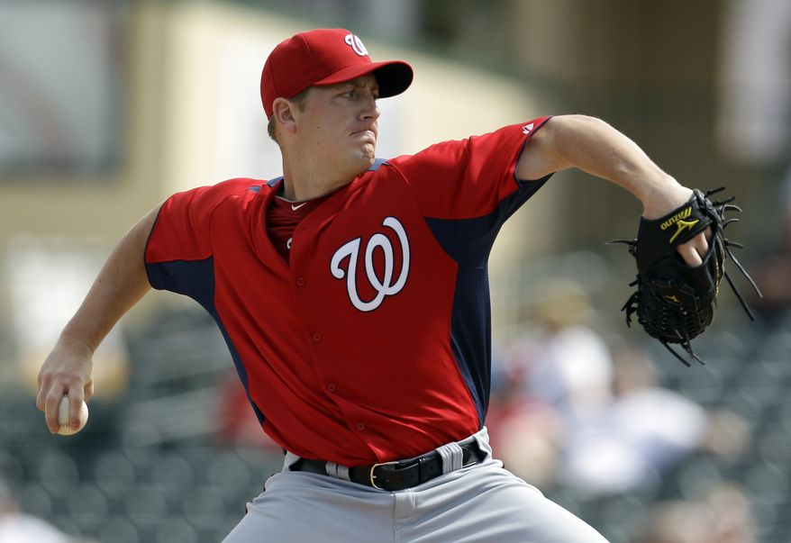 Washington Nationals starting pitcher Jordan Zimmermann throws during the second inning of a spring training baseball game against the St. Louis Cardinals Thursday, March 3, 2011, in Jupiter, Fla. (AP Photo/Jeff Roberson)