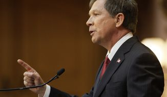 """I appreciate the passion of people who don't agree with us,"" Ohio Gov. John Kasich said of protesters during his State of the State address in Columbus, Ohio, on Tuesday. ""People who feel strongly, I respect them. But they also need to respect those who don't always agree with them."" (Associated Press)"