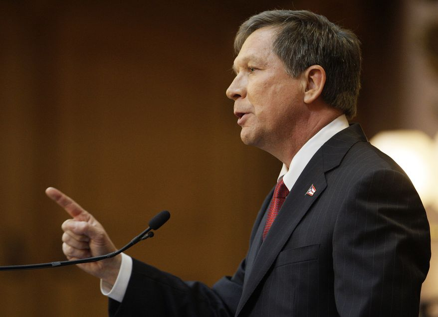 """""""I appreciate the passion of people who don't agree with us,"""" Ohio Gov. John Kasich said of protesters during his State of the State address in Columbus, Ohio, on Tuesday. """"People who feel strongly, I respect them. But they also need to respect those who don't always agree with them."""" (Associated Press)"""