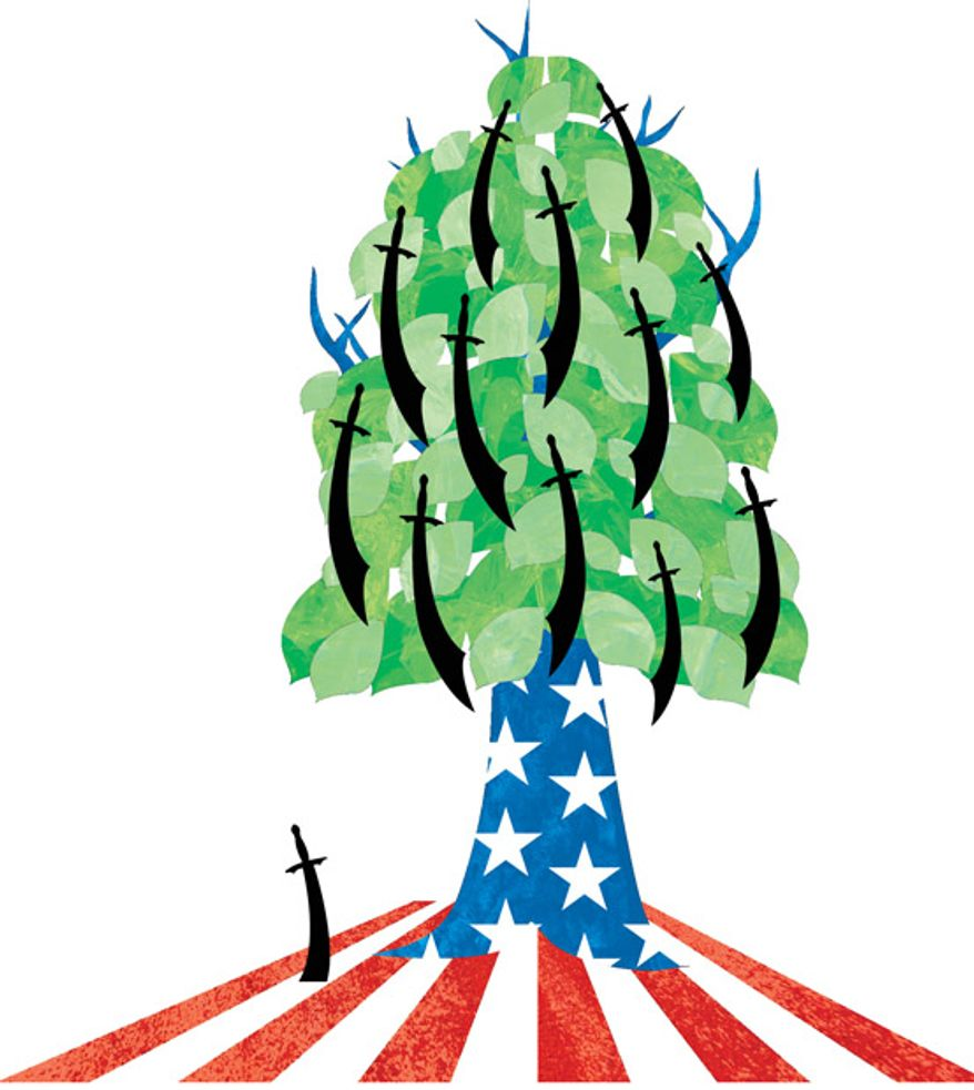 Illustration: Homegrown jihad by Greg Groesch for The Washington Times