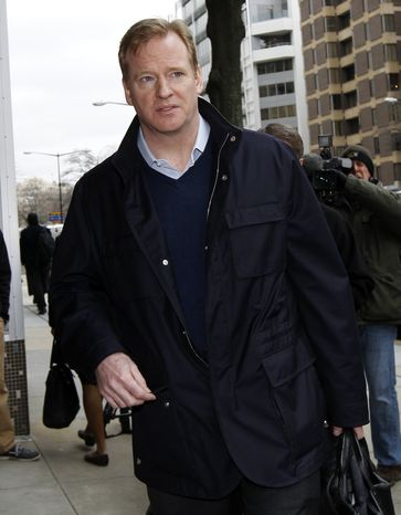 Roger Goodell, NFL commissioner, arrives for negotiations with the NFL Players Association involving a federal mediator in Washington, Wednesday, March 9, 2011 (AP Photo/Alex Brandon)