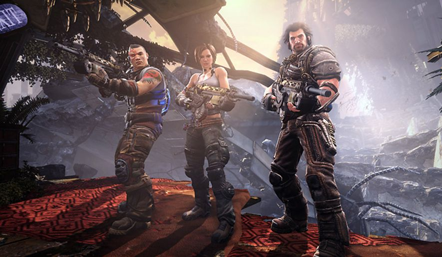 Cyborg Ishi Sato, Trishka Novak and Grayson Hunt survive in the bloody Bulletstorm: Epic Edition.
