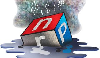 Illustration: NPR on the melt by Greg Groesch for The Washington Times