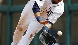 Detroit Tigers' Miguel Cabrera hits a single in the second inning of a spring training baseball game against the Philadelphia Phillies, Wednesday, March 9, 2011 in Lakeland, Fla. (AP Photo/David Goldman)
