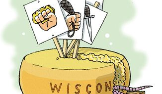 Illustration: Wisconsin cheese by Alexander Hunter for The Washington Times