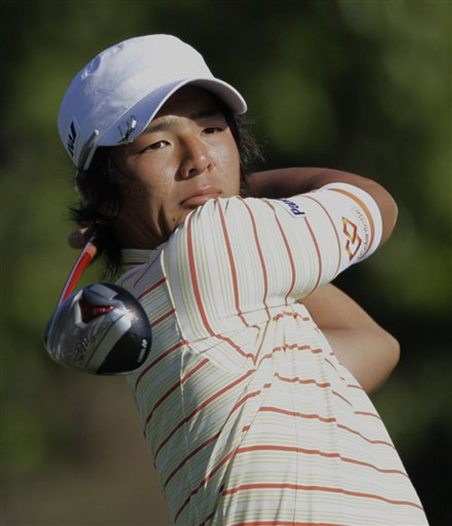 Ryo Ishikawa of Japan hits from the 18th tee during the second round of the Cadillac Championship golf tournament in Doral, Fla. on Friday, March 11, 2011. (AP Photo/Lynne Sladky)