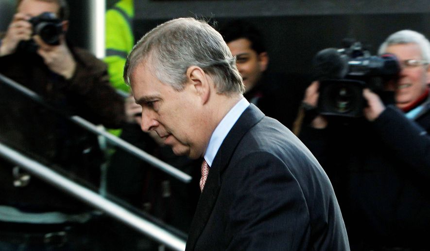 "Britain's Prince Andrew, here arriving March 7 on a visit to the headquarters of the London CrossRail project, is under fire over ""his boorish gaffes and dodgy friendships."" He's being pressured to resign from his role as a British trade envoy, a volunteer position. (Associated Press)"
