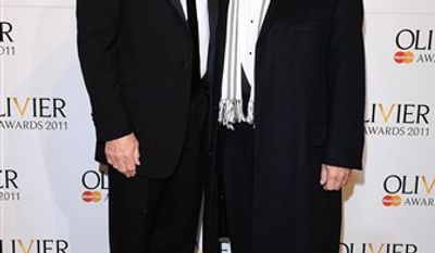 Actors Patrick Stewart (left) and David Suchet arrive at the 2011 Lawrence Olivier Awards at the Theatre Royal  in London, Sunday, March 13,  2011.  (AP Photo/Ian West/PA)  UNITED KINGDOM OUT  NO SALES  NO ARCHIVE