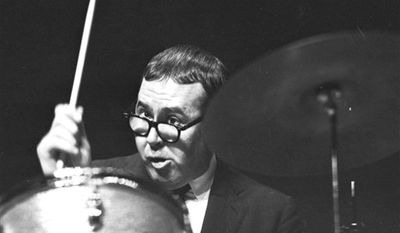 FILE - In this August 1977 file photo, Joe Morello plays on a drum in his home in Irvington, N.J. Morello, one of the most famous drummers in jazz music history, died Saturday, March 12, 2011 at his home in New Jersey. He was 82. (AP Photo/File)