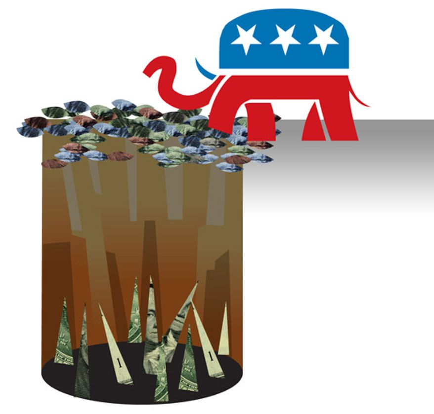 Illustration: GOP path by Linas Garsys for The Washington Times