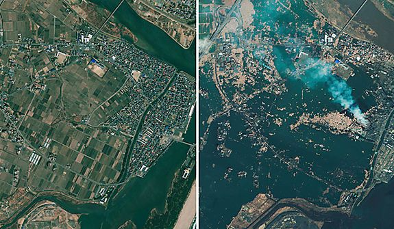 Natori, Japan, is seen in combination of photos by GeoEye. The photo on the left was taken April 4, 2010; the photo on right was taken Saturday, March 12, 2011, one day after an 8.9-magnitude earthquake struck the Oshika Peninsula. (AP Photo/GeoEye)