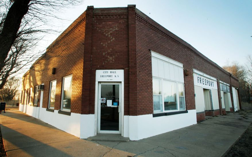 The City Hall in Freeport, Kan., a town of just five people, is located in an old bank building. (Associated Press)