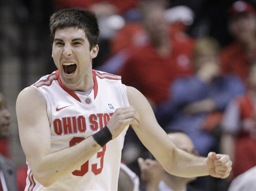 Ohio State guard Jon Diebler reacts during the overtime of an NCAA college basketball game against Northwestern at the Big Ten Conference tournament in Indianapolis, Friday, March 11, 2011. Ohio State defeated Northwestern 67-61. (AP Photo/Michael Conroy)