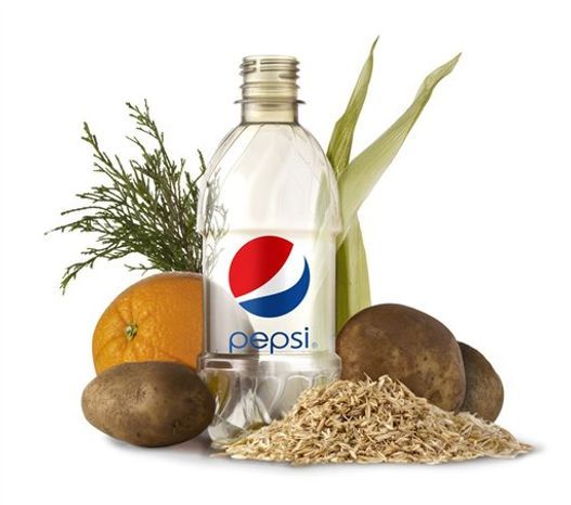 This product image provided by PepsiCo., shows the company's new beverage bottle made entirely of plant material. The bottle is made from switch grass, pine bark, corn husks and other materials. Ultimately, Pepsi plans to also use orange peels, oat hulls, potato scraps and other leftovers from its food business. (AP Photo/PepsiCo) NO SALES