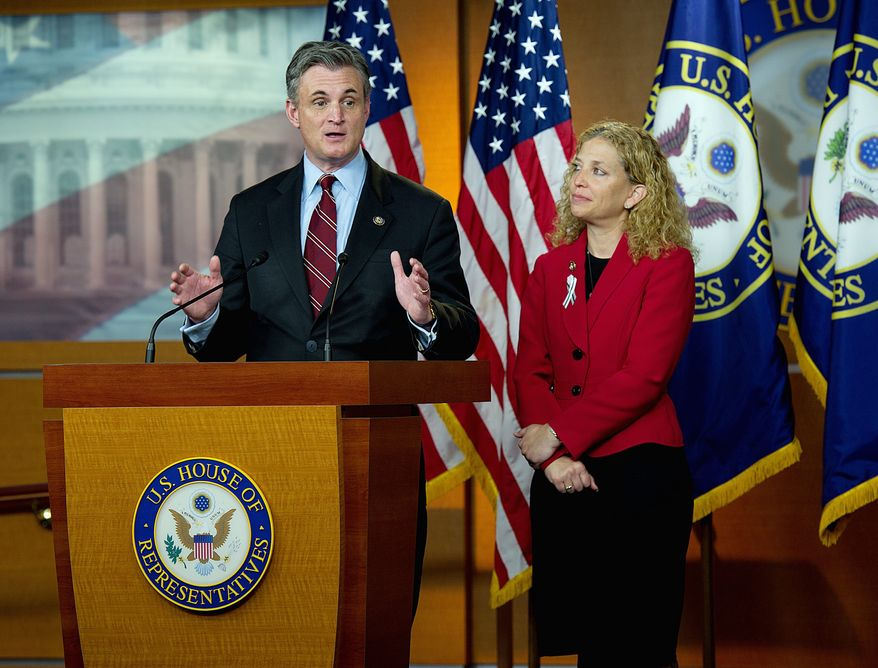 """""""I think it's evident they didn't have a [jobs] plan,"""" said Rep. Debbie Wasserman Schultz, Florida Democrat, (right, with Rep. Robert E. Andrews, New Jersey Democrat) about Republicans. (Barbara L. Salisbury/The Washington Times)"""