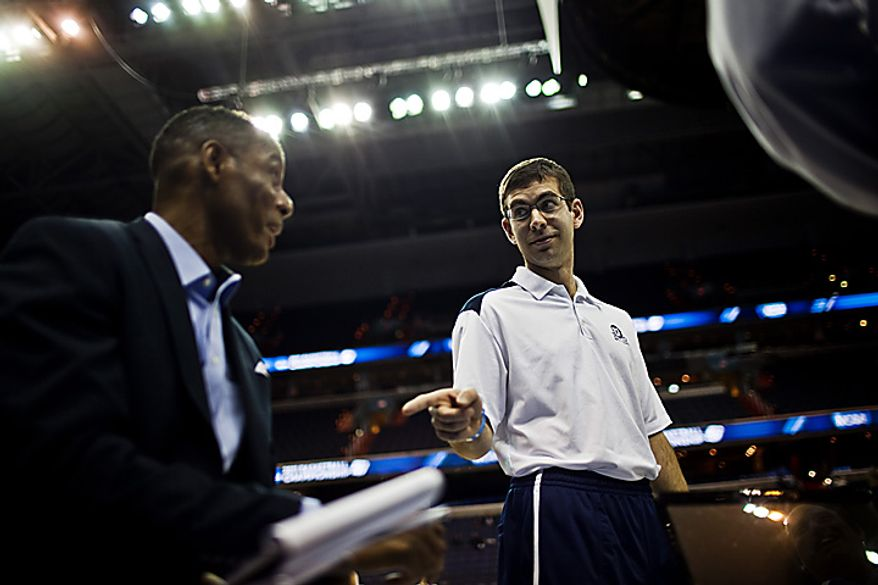 Butler University head coach Brad Stevens speaks to reporters during open practice at the Verizon Center, in Washington, D.C.,  Wednesday, March 16, 2011. (Drew Angerer/The Washington Times)