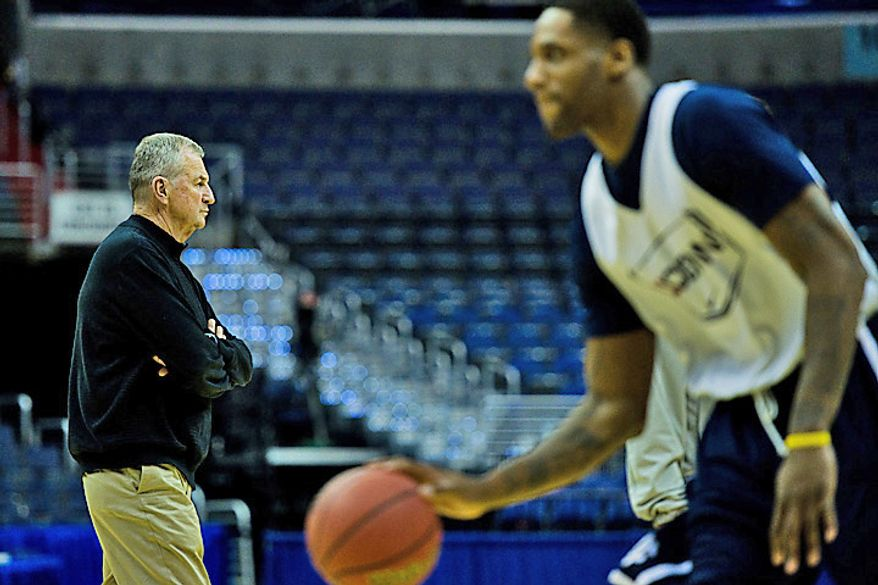 University of Connecticut head coach Jim Calhoun watches his team practice at the Verizon Center, in Washington, D.C., Wednesday, March 16, 2011. (Drew Angerer/The Washington Times)
