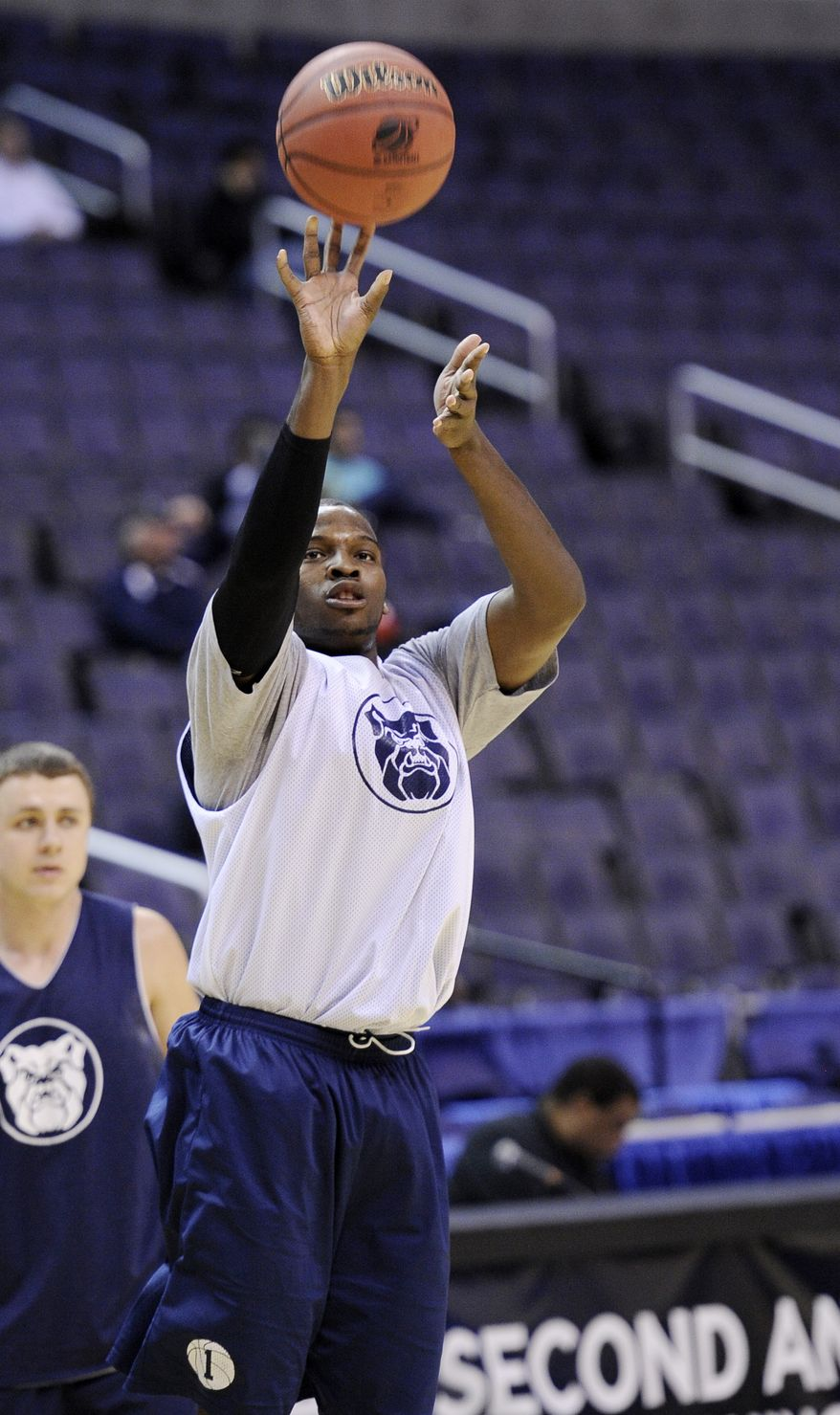 Butler's Shelvin Mack takes a shot during practice Wednesday for their southeast regional NCAA college basketball game against Old Dominion in Washington. (Associated Press)