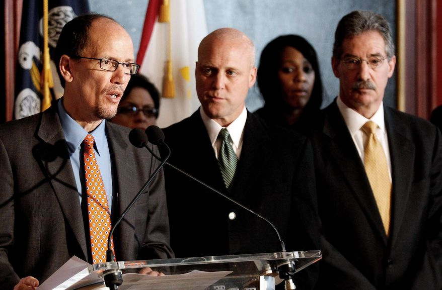 Assistant Attorney General Thomas E. Perez (left) announces results of a 10-month investigation that found New Orleans police officers engaged in unconstitutional conduct and violated federal laws. Also at the Thursday news conference were Mayor Mitch Landrieu (center) and Deputy Attorney General James Cole. (Associated Press)