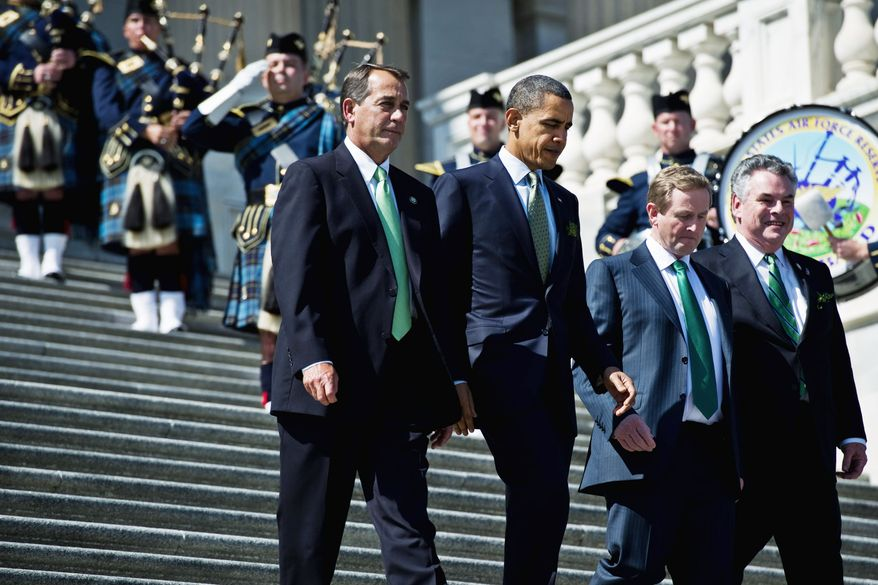 Bagpipers play Thursday as President Obama leaves a St. Patrick's Day lunch with (from the left) House Speaker John A. Boehner, Irish Prime Minister Enda Kenny and Rep. Peter King. (Drew Angerer/The Washington Times)