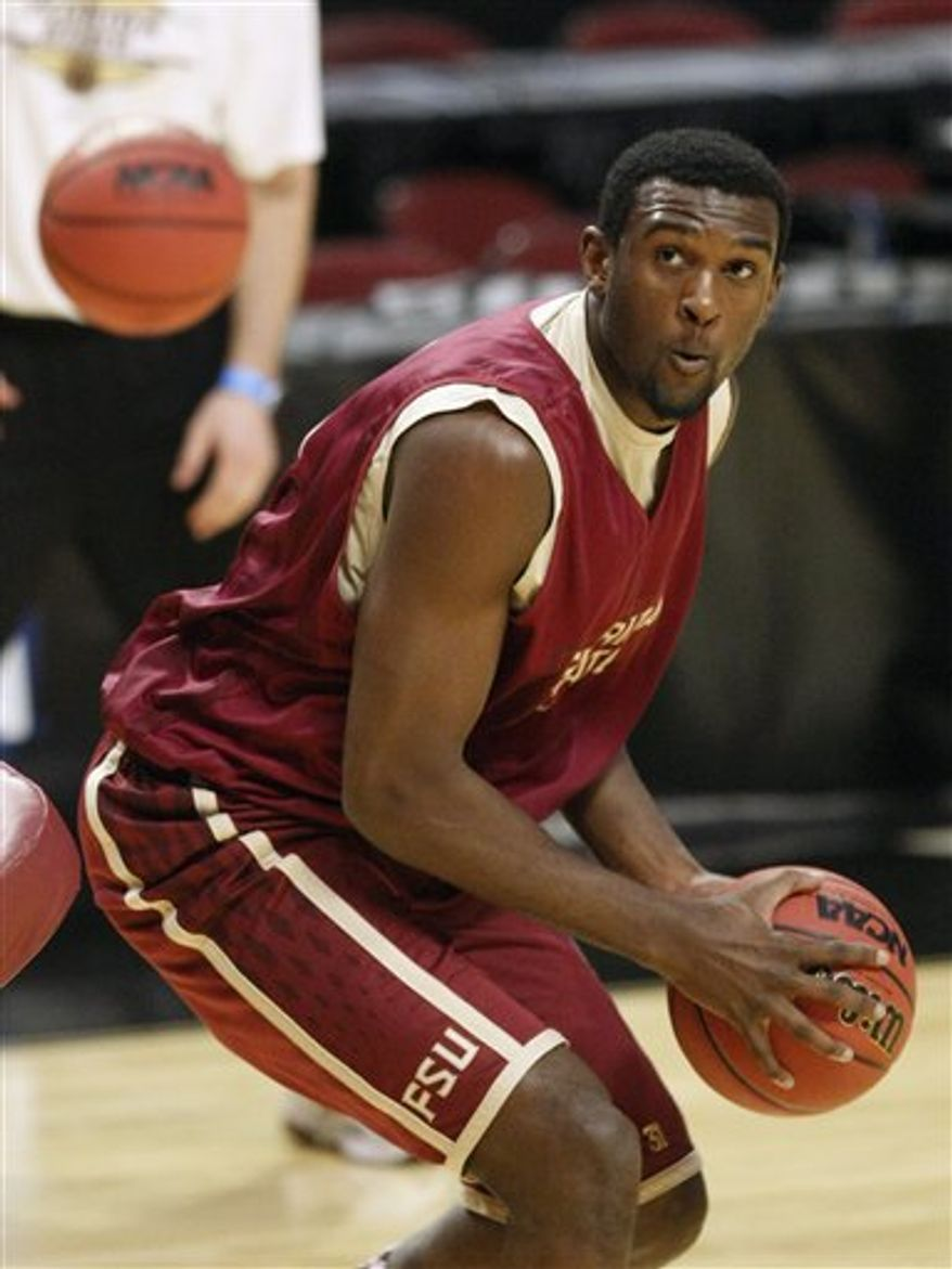 Florida State's Derwin Kitchen talks during a news conference for the Southwest regional third round NCAA tournament college basketball game, Saturday, March 19, 2011, in Chicago. Florida State plays Notre Dame on Sunday. (AP Photo/Charles Rex Arbogast)
